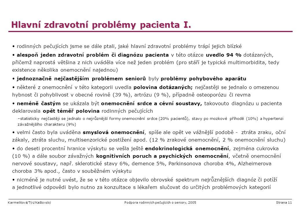 Karmelitová/Týc/KaštovskýPodpora rodinných pečujících o seniory, 2005Strana 11 Hlavní zdravotní problémy pacienta I. rodinných pečujících jsme se dále