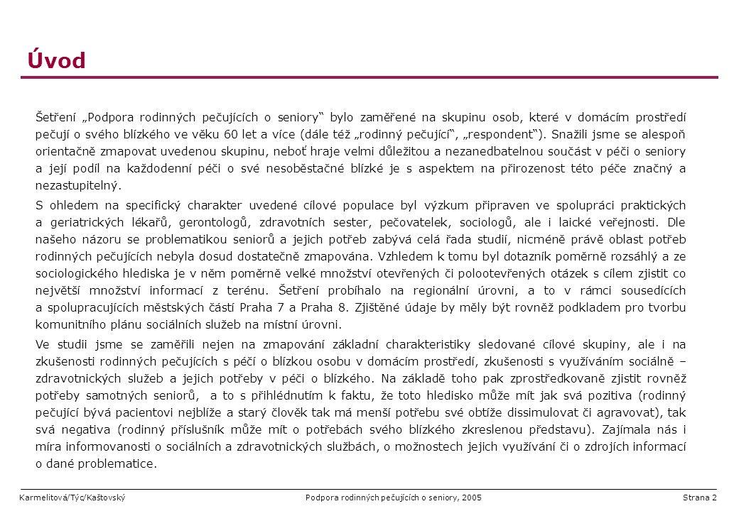 """Karmelitová/Týc/KaštovskýPodpora rodinných pečujících o seniory, 2005Strana 53 Možnost krátkodobého umístění pacienta ve specializovaném zařízení v souvislosti s časovou náročností péče o blízkou osobu (a v řadě případů s nutností stálé péče či dohledu nad pacientem) jsme se respondentů konkrétně ptali, zda by využili možnost krátkodobého umístění pacienta ve specializovaném zařízení s tím, aby si samotní pečující mohli odpočinout kladný postoj k takové variantě zaujalo 38% pečujících naopak více než polovina (55%) možnost odmítla Komentář: Na základě spontánně vpisovaných komentářů je možno usuzovat, že část pečujících se na tuto i otázky podobného charakteru """"ostýchala odpovědět (morální hledisko, výroky typu """"to bych se styděla , """"to bych mu nemohla udělat, je to můj otec , """"stejně by tam nešel )."""