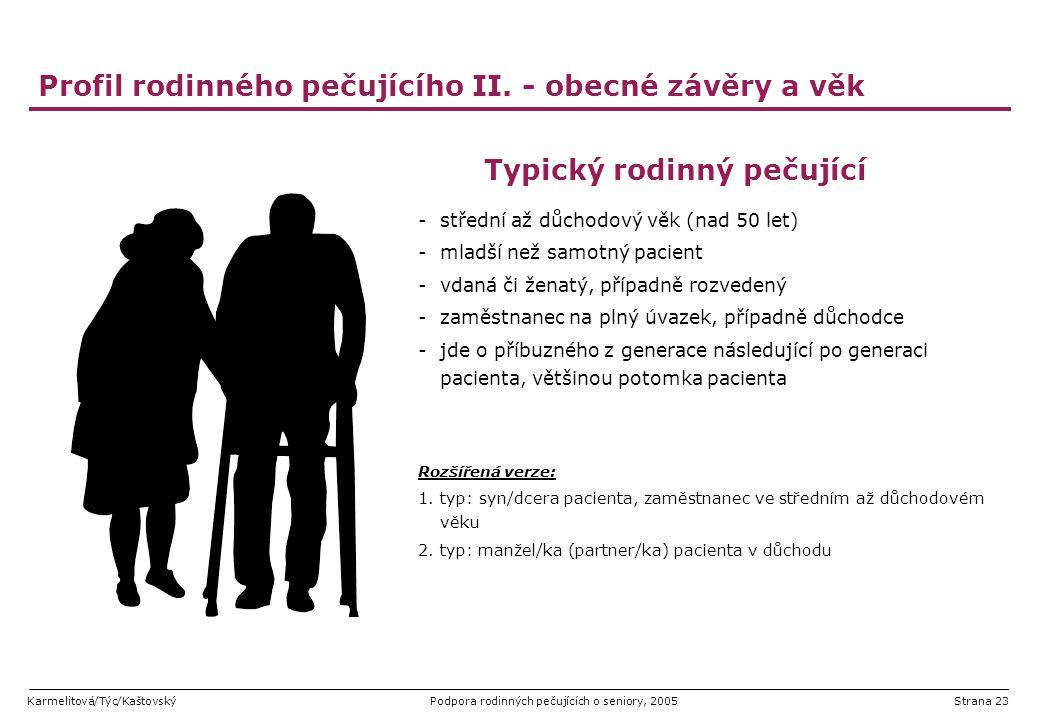 Karmelitová/Týc/KaštovskýPodpora rodinných pečujících o seniory, 2005Strana 23 Profil rodinného pečujícího II. - obecné závěry a věk Typický rodinný p