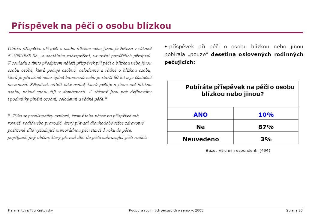 Karmelitová/Týc/KaštovskýPodpora rodinných pečujících o seniory, 2005Strana 28 Příspěvek na péči o osobu blízkou Otázka příspěvku při péči o osobu blí