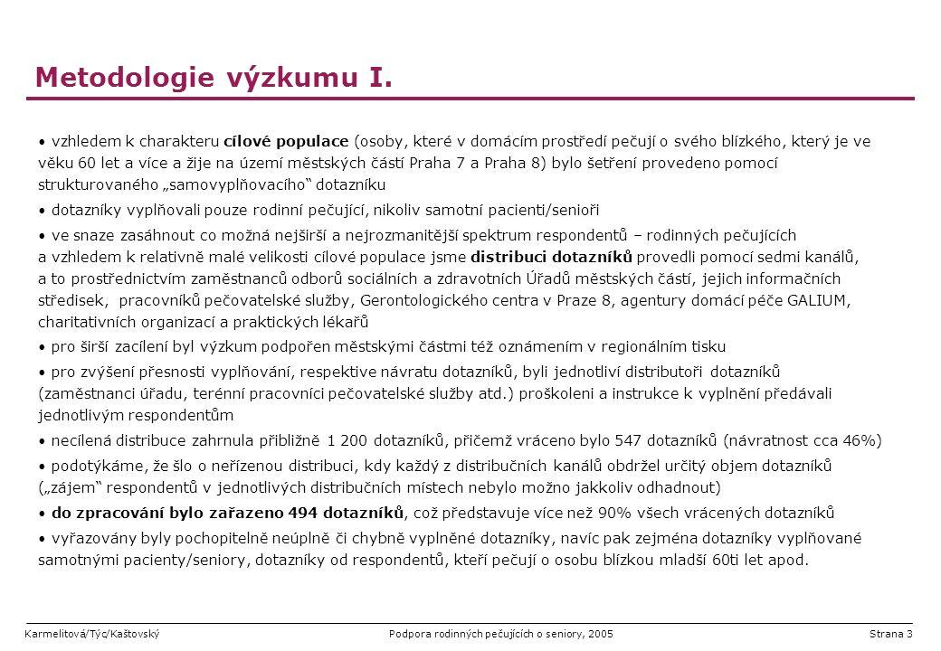 Karmelitová/Týc/KaštovskýPodpora rodinných pečujících o seniory, 2005Strana 3 Metodologie výzkumu I. vzhledem k charakteru cílové populace (osoby, kte