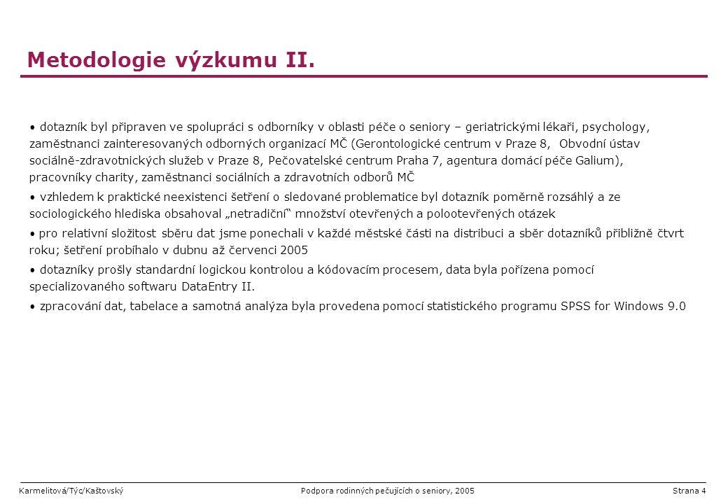 Karmelitová/Týc/KaštovskýPodpora rodinných pečujících o seniory, 2005Strana 4 Metodologie výzkumu II. dotazník byl připraven ve spolupráci s odborníky