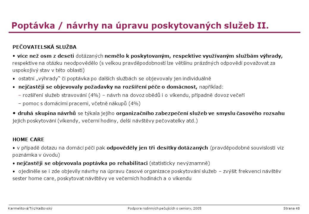 Karmelitová/Týc/KaštovskýPodpora rodinných pečujících o seniory, 2005Strana 48 Poptávka / návrhy na úpravu poskytovaných služeb II. PEČOVATELSKÁ SLUŽB