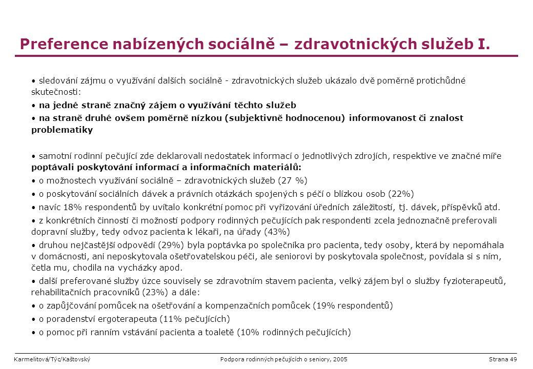 Karmelitová/Týc/KaštovskýPodpora rodinných pečujících o seniory, 2005Strana 49 Preference nabízených sociálně – zdravotnických služeb I. sledování záj