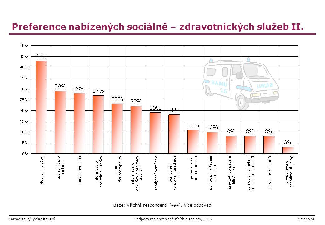 Karmelitová/Týc/KaštovskýPodpora rodinných pečujících o seniory, 2005Strana 50 Preference nabízených sociálně – zdravotnických služeb II. Báze: Všichn