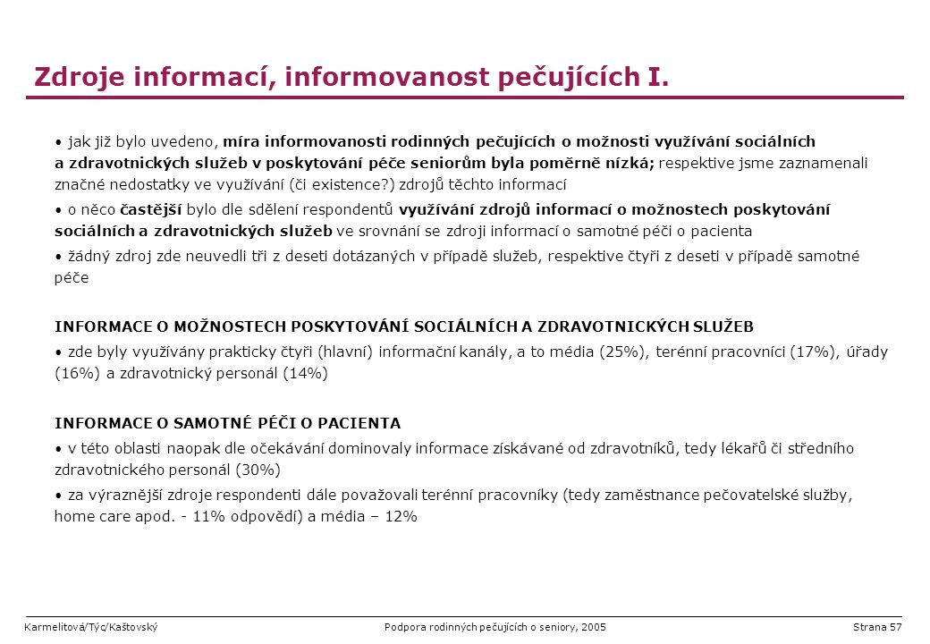 Karmelitová/Týc/KaštovskýPodpora rodinných pečujících o seniory, 2005Strana 57 Zdroje informací, informovanost pečujících I. jak již bylo uvedeno, mír