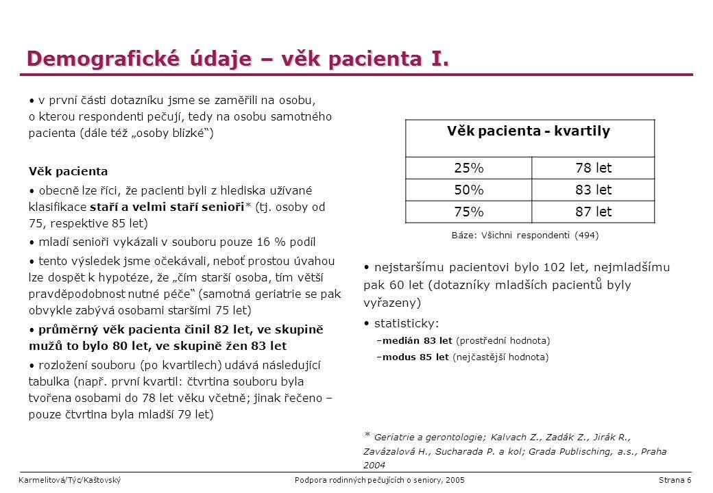 Karmelitová/Týc/KaštovskýPodpora rodinných pečujících o seniory, 2005Strana 37 Stávající poskytovaná péče – pomoc dalších osob v naprosté většině případů (85% všech dotázaných) pomáhala rodinnému pečujícímu s péčí o pacienta nějaká další osoba, případně instituce zhruba polovině respondentů poskytoval pomoc v péči o pacienta ještě další příbuzný; 7% dotázaných pak navíc uvedlo pomoc přátel a stejně početná skupina i výpomoc sousedů pacienta výraznou úlohu zde, byť jak vyplynulo z detailnějšího rozboru v dalších otázkách, zejména v oblasti stravování, sehrávala pečovatelská služba, jejíž pomoc uvedlo 42% rodinných pečujících Báze: Všichni respondenti (494)