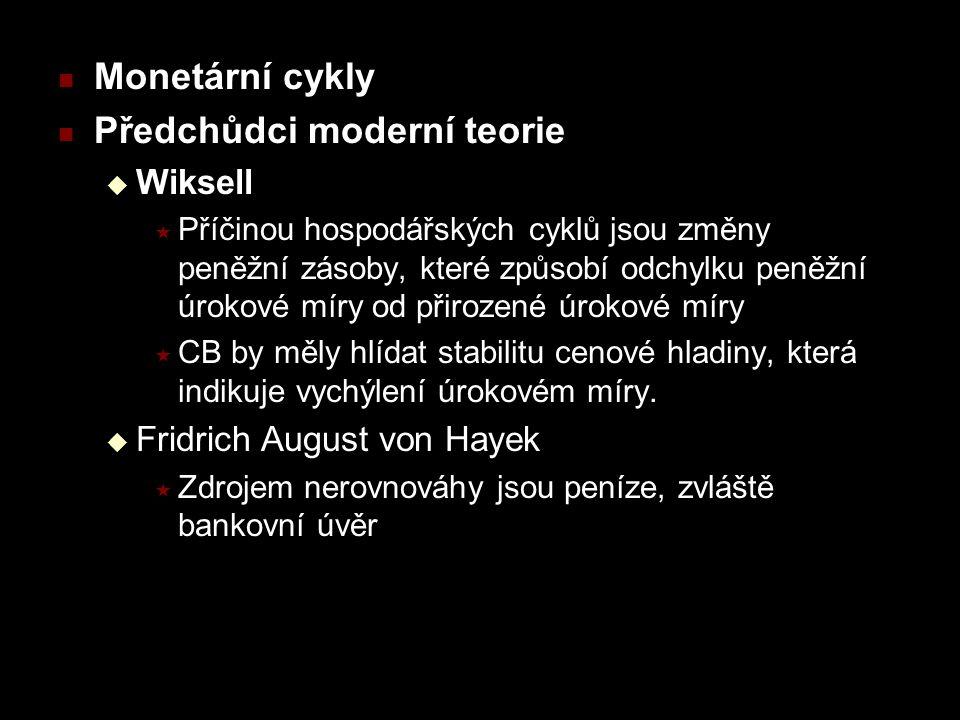 Monetární cykly Předchůdci moderní teorie  Wiksell  Příčinou hospodářských cyklů jsou změny peněžní zásoby, které způsobí odchylku peněžní úrokové m