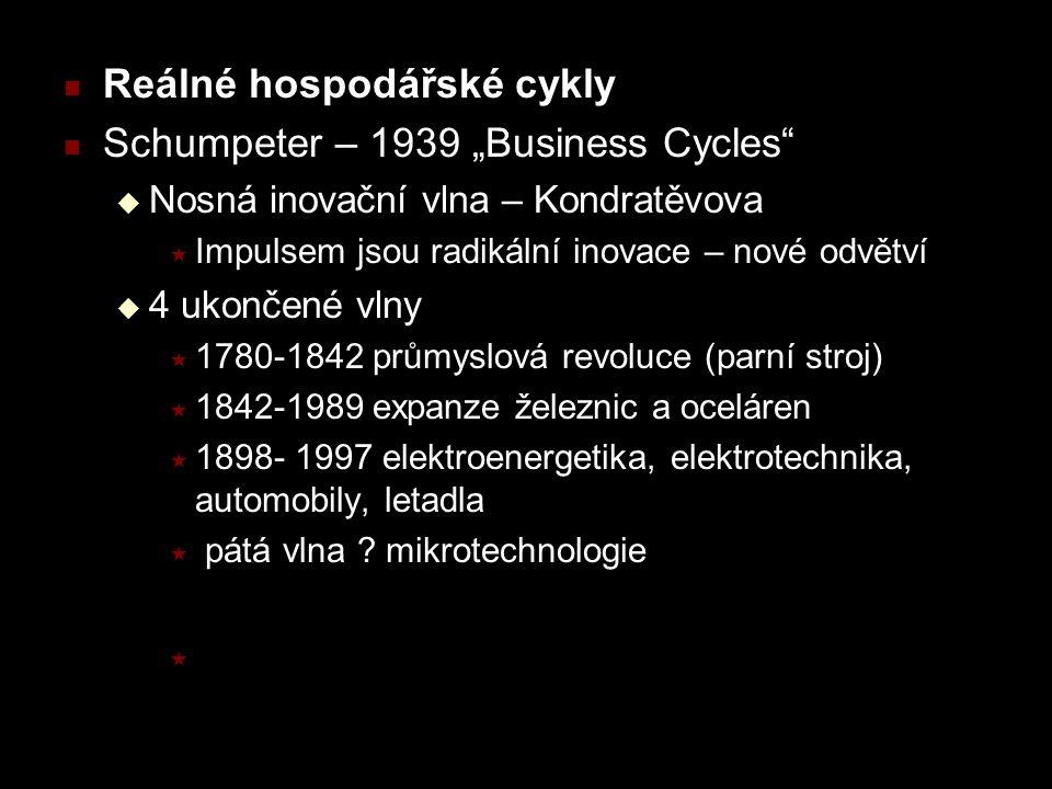 """Reálné hospodářské cykly Schumpeter – 1939 """"Business Cycles  Nosná inovační vlna – Kondratěvova  Impulsem jsou radikální inovace – nové odvětví  4 ukončené vlny  1780-1842 průmyslová revoluce (parní stroj)  1842-1989 expanze železnic a oceláren  1898- 1997 elektroenergetika, elektrotechnika, automobily, letadla  pátá vlna ."""