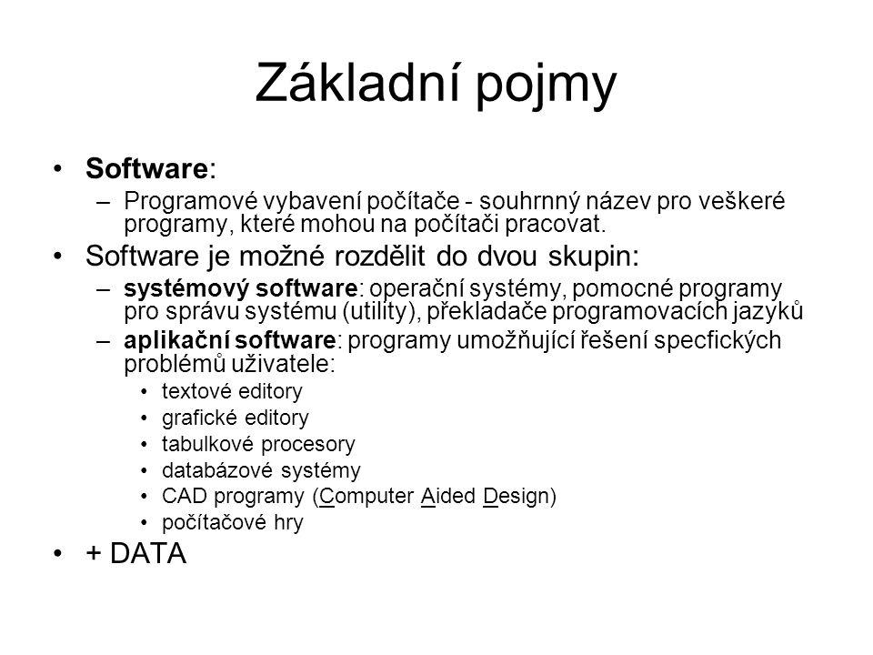 Základní pojmy Software: –Programové vybavení počítače - souhrnný název pro veškeré programy, které mohou na počítači pracovat. Software je možné rozd