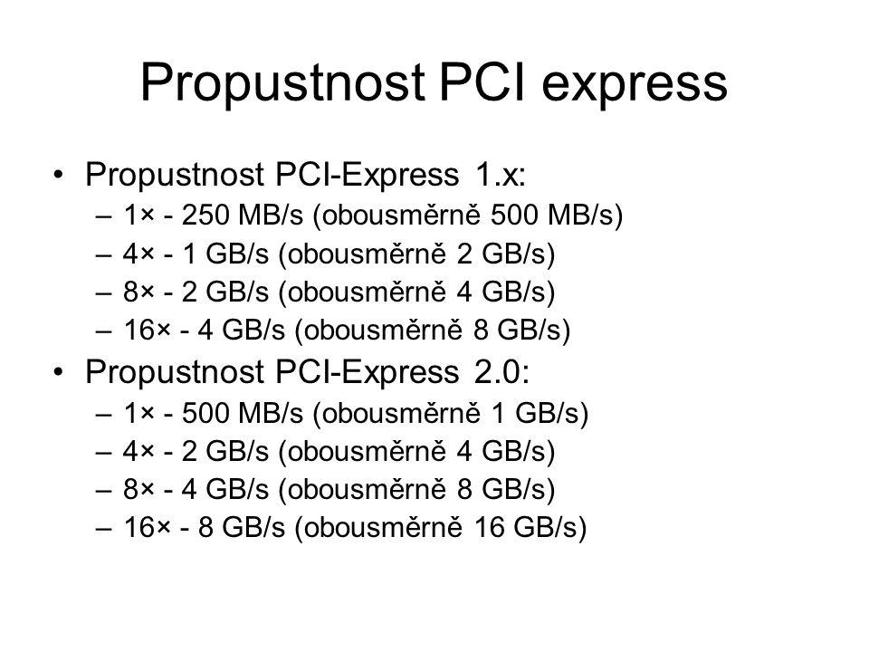Propustnost PCI express Propustnost PCI-Express 1.x: –1× - 250 MB/s (obousměrně 500 MB/s) –4× - 1 GB/s (obousměrně 2 GB/s) –8× - 2 GB/s (obousměrně 4