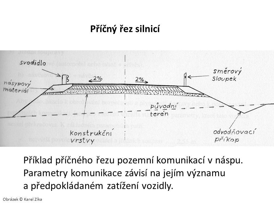 Příklad příčného řezu pozemní komunikací v náspu. Parametry komunikace závisí na jejím významu a předpokládaném zatížení vozidly. Příčný řez silnicí O