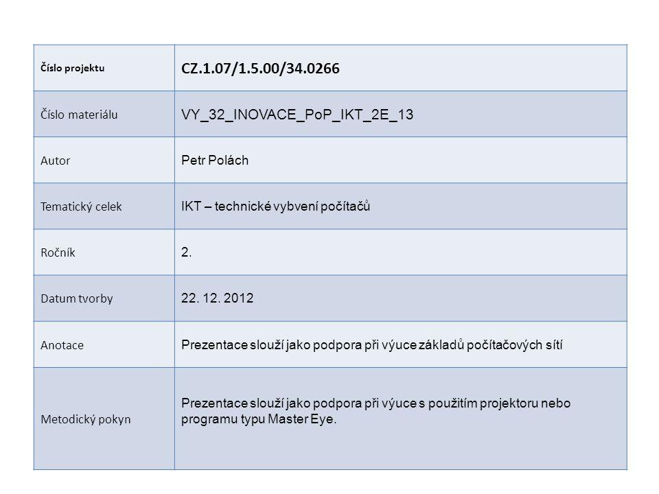 Číslo projektu CZ.1.07/1.5.00/34.0266 Číslo materiálu VY_32_INOVACE_PoP_IKT_2E_13 Autor Petr Polách Tematický celek IKT – technické vybvení počítačů Ročník 2.
