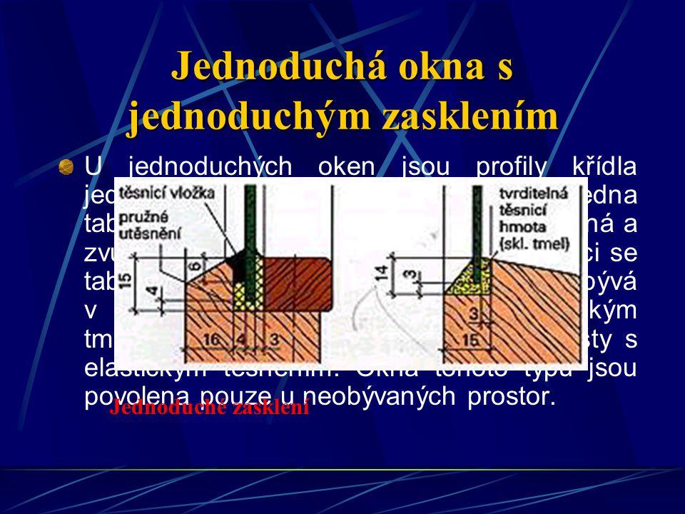 Určení tloušťky skla U jednoduchého zasklení lze tloušťky skla v závislosti na šířce a výšce okenní tabule zjistit z diagramu nebo z tabulek.