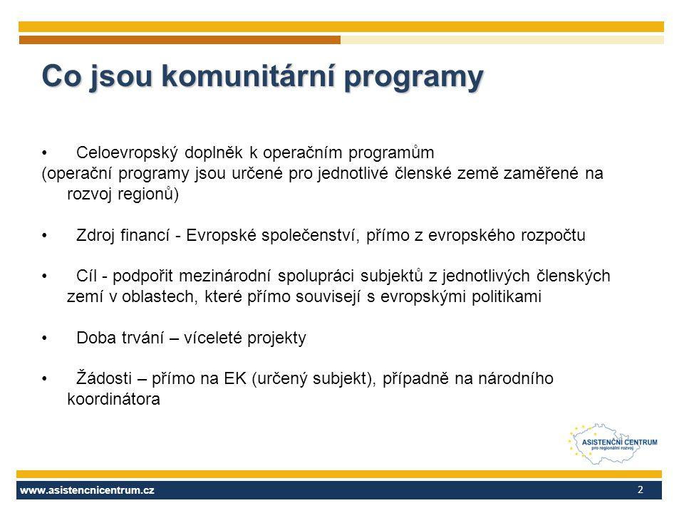 www.asistencnicentrum.cz 2 Co jsou komunitární programy Celoevropský doplněk k operačním programům (operační programy jsou určené pro jednotlivé člens