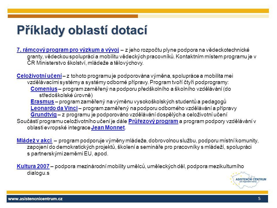 www.asistencnicentrum.cz 5 Příklady oblastí dotací 7. rámcový program pro výzkum a vývoj7. rámcový program pro výzkum a vývoj – z jeho rozpočtu plyne