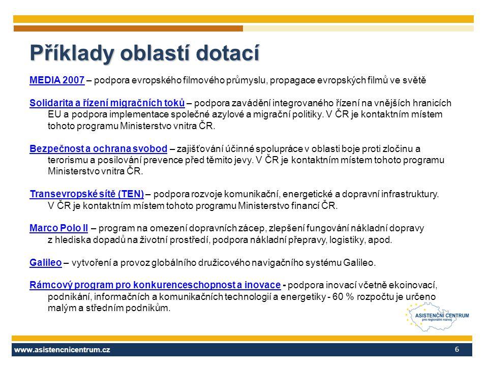 www.asistencnicentrum.cz 6 MEDIA 2007MEDIA 2007 – podpora evropského filmového průmyslu, propagace evropských filmů ve světě Solidarita a řízení migra