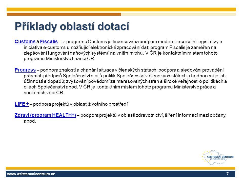 www.asistencnicentrum.cz 7 CustomsCustoms a Fiscalis – z programu Customs je financována podpora modernizace celní legislativy a iniciativa e-customs