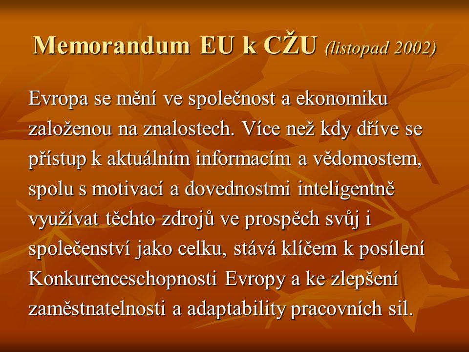Memorandum EU k CŽU (listopad 2002) Evropa se mění ve společnost a ekonomiku založenou na znalostech. Více než kdy dříve se přístup k aktuálním inform