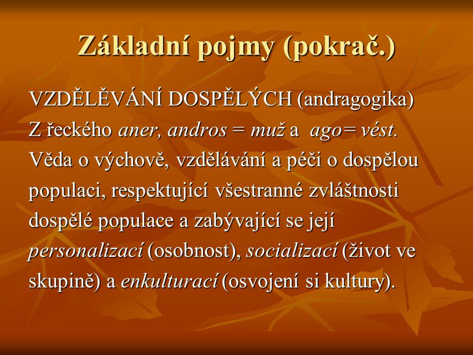 Základní pojmy (pokrač.) VZDĚLĚVÁNÍ DOSPĚLÝCH (andragogika) Z řeckého aner, andros = muž a ago= vést. Věda o výchově, vzdělávání a péči o dospělou pop
