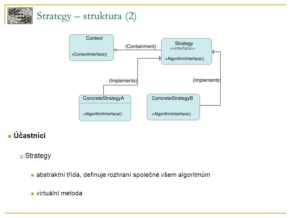 Účastníci  Strategy abstraktní třída, definuje rozhraní společné všem algoritmům virtuální metoda Strategy – struktura (2)