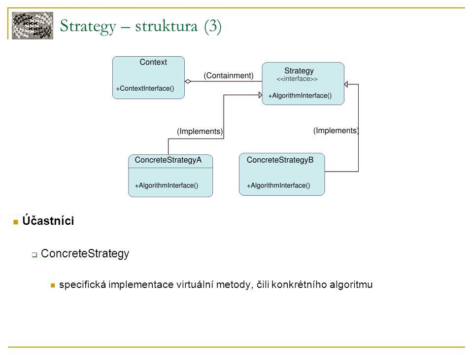 Účastníci  ConcreteStrategy specifická implementace virtuální metody, čili konkrétního algoritmu Strategy – struktura (3)