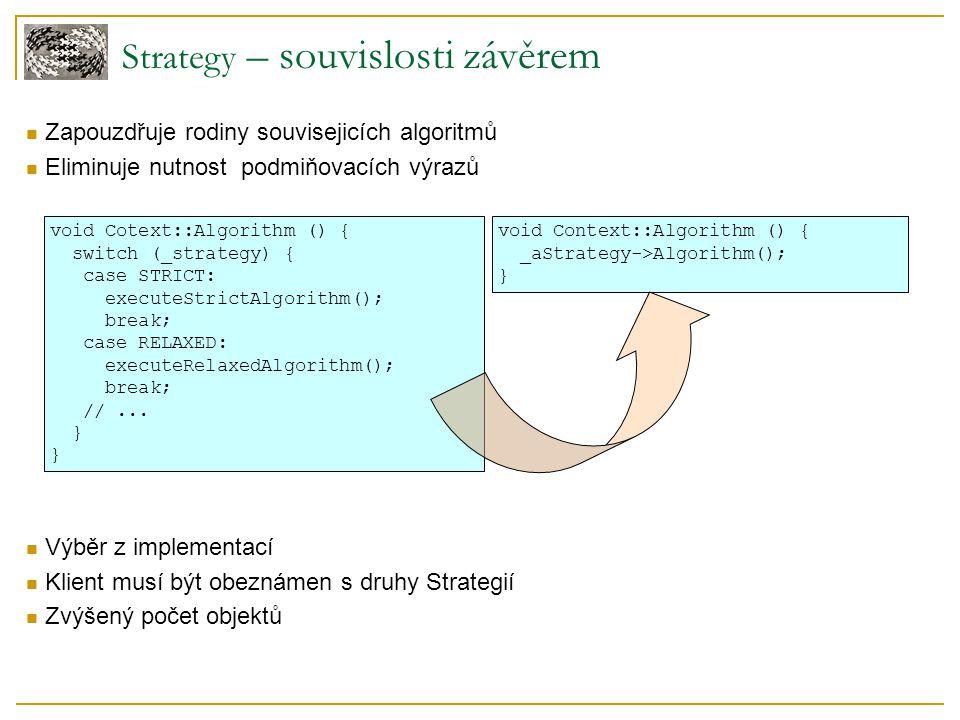 Strategy – souvislosti závěrem Zapouzdřuje rodiny souvisejicích algoritmů Eliminuje nutnost podmiňovacích výrazů Výběr z implementací Klient musí být obeznámen s druhy Strategií Zvýšený počet objektů void Cotext::Algorithm () { switch (_strategy) { case STRICT: executeStrictAlgorithm(); break; case RELAXED: executeRelaxedAlgorithm(); break; //...