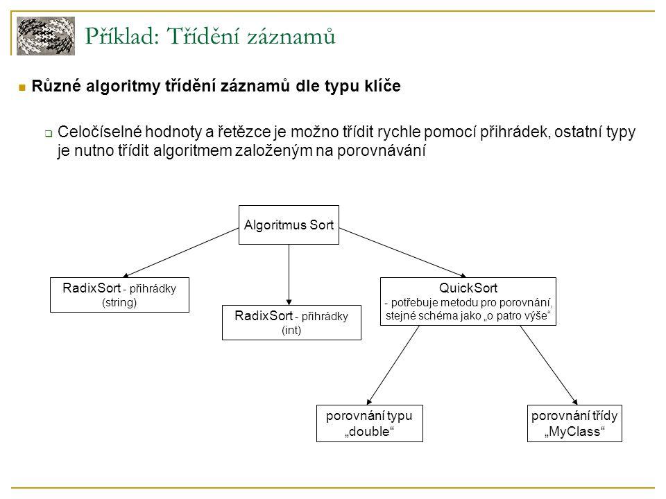 """Různé algoritmy třídění záznamů dle typu klíče  Celočíselné hodnoty a řetězce je možno třídit rychle pomocí přihrádek, ostatní typy je nutno třídit algoritmem založeným na porovnávání Příklad: Třídění záznamů RadixSort - přihrádky (string) RadixSort - přihrádky (int) porovnání typu """"double porovnání třídy """"MyClass Algoritmus Sort QuickSort - potřebuje metodu pro porovnání, stejné schéma jako """"o patro výše"""