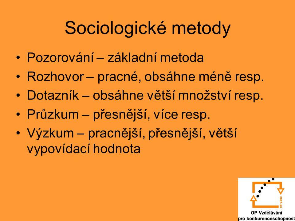 Sociologické metody Pozorování – základní metoda Rozhovor – pracné, obsáhne méně resp.