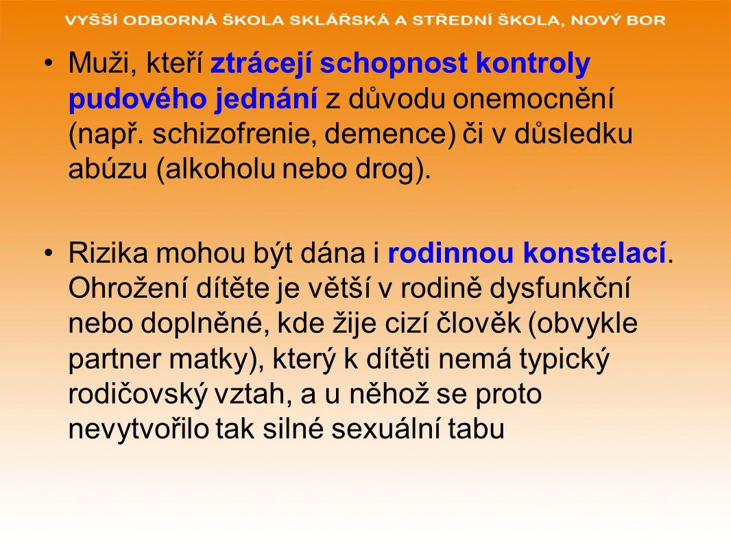 Muži, kteří ztrácejí schopnost kontroly pudového jednání z důvodu onemocnění (např. schizofrenie, demence) či v důsledku abúzu (alkoholu nebo drog). R