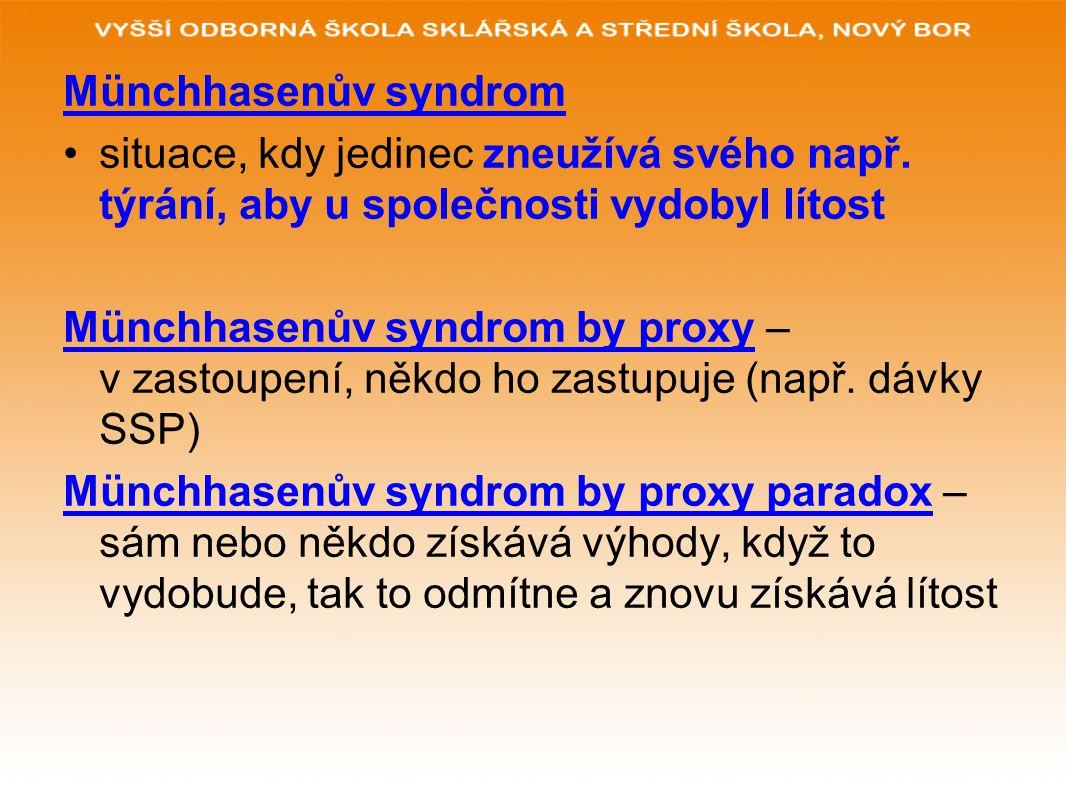 Münchhasenův syndrom situace, kdy jedinec zneužívá svého např. týrání, aby u společnosti vydobyl lítost Münchhasenův syndrom by proxy – v zastoupení,