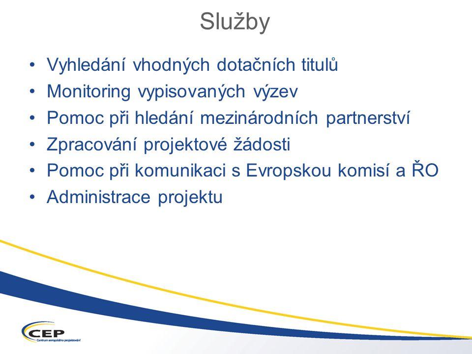 Služby Vyhledání vhodných dotačních titulů Monitoring vypisovaných výzev Pomoc při hledání mezinárodních partnerství Zpracování projektové žádosti Pomoc při komunikaci s Evropskou komisí a ŘO Administrace projektu