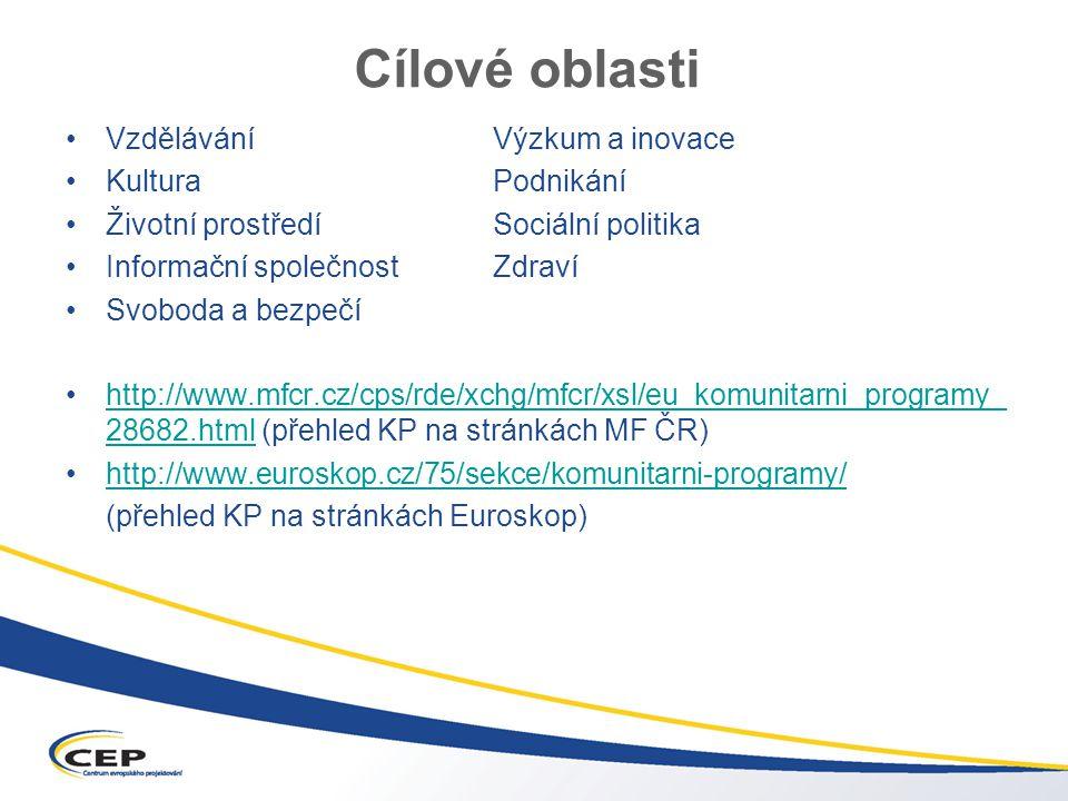 Cílové oblasti VzděláváníVýzkum a inovace KulturaPodnikání Životní prostředíSociální politika Informační společnostZdraví Svoboda a bezpečí http://www.mfcr.cz/cps/rde/xchg/mfcr/xsl/eu_komunitarni_programy_ 28682.html (přehled KP na stránkách MF ČR)http://www.mfcr.cz/cps/rde/xchg/mfcr/xsl/eu_komunitarni_programy_ 28682.html http://www.euroskop.cz/75/sekce/komunitarni-programy/ (přehled KP na stránkách Euroskop)