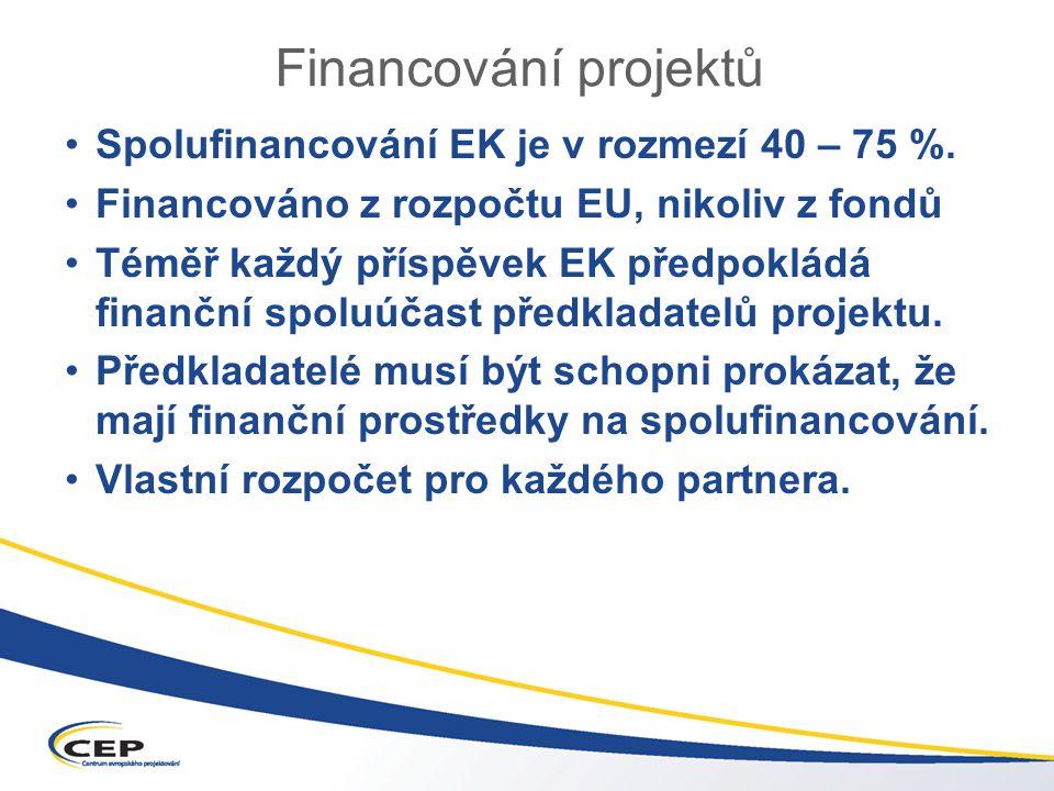Financování projektů Spolufinancování EK je v rozmezí 40 – 75 %.