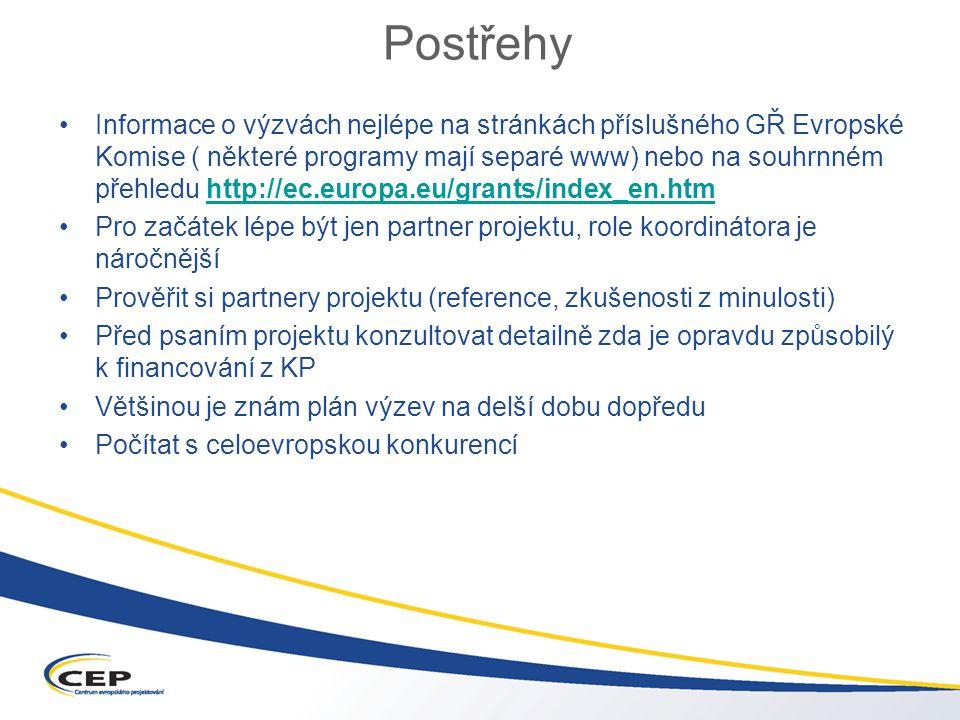 Postřehy Informace o výzvách nejlépe na stránkách příslušného GŘ Evropské Komise ( některé programy mají separé www) nebo na souhrnném přehledu http://ec.europa.eu/grants/index_en.htmhttp://ec.europa.eu/grants/index_en.htm Pro začátek lépe být jen partner projektu, role koordinátora je náročnější Prověřit si partnery projektu (reference, zkušenosti z minulosti) Před psaním projektu konzultovat detailně zda je opravdu způsobilý k financování z KP Většinou je znám plán výzev na delší dobu dopředu Počítat s celoevropskou konkurencí