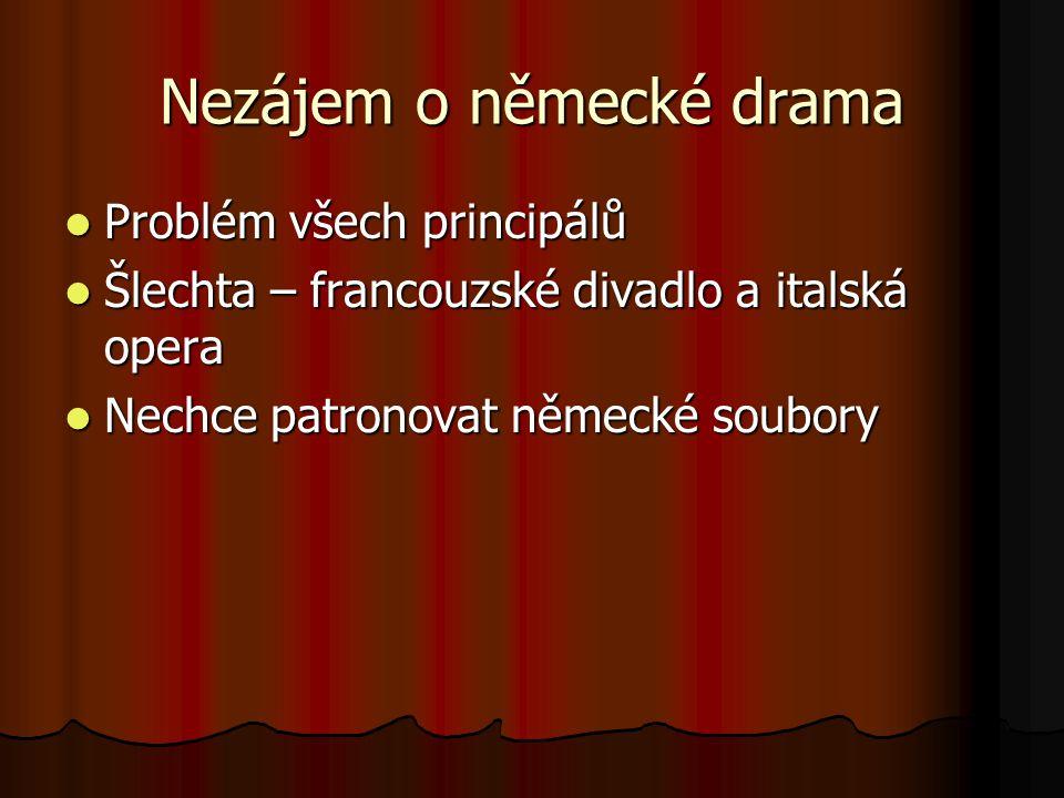 Nezájem o německé drama Problém všech principálů Problém všech principálů Šlechta – francouzské divadlo a italská opera Šlechta – francouzské divadlo a italská opera Nechce patronovat německé soubory Nechce patronovat německé soubory