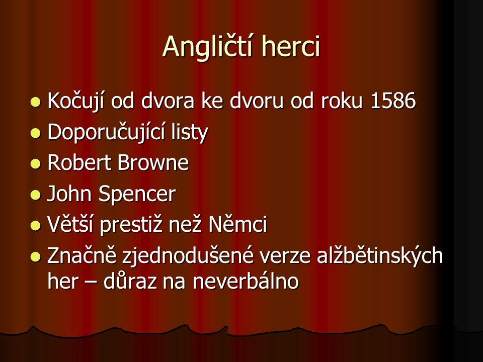 Angličtí herci Kočují od dvora ke dvoru od roku 1586 Kočují od dvora ke dvoru od roku 1586 Doporučující listy Doporučující listy Robert Browne Robert