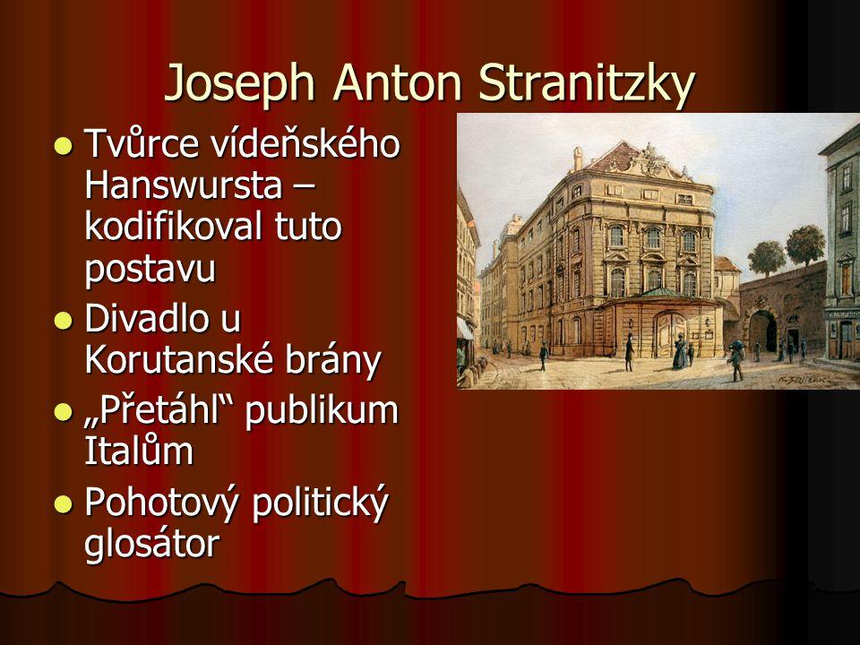 Joseph Anton Stranitzky Tvůrce vídeňského Hanswursta – kodifikoval tuto postavu Tvůrce vídeňského Hanswursta – kodifikoval tuto postavu Divadlo u Koru
