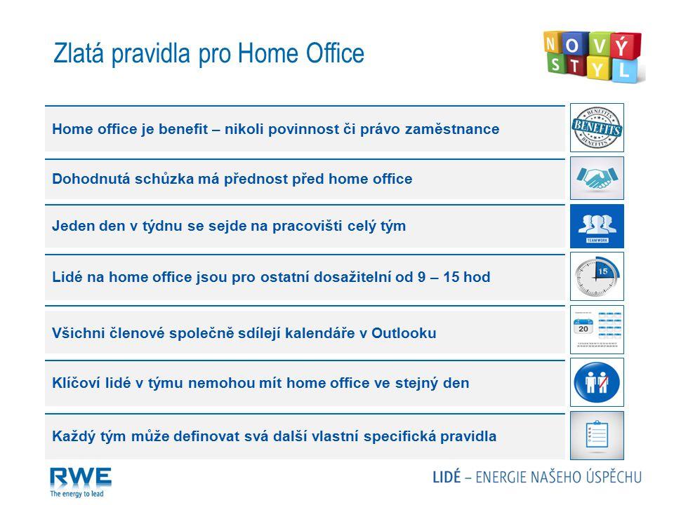 Zlatá pravidla pro Home Office Home office je benefit – nikoli povinnost či právo zaměstnance Dohodnutá schůzka má přednost před home office Jeden den