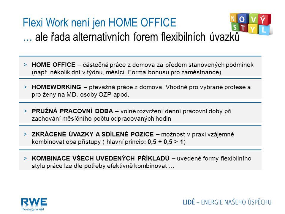 Flexi Work není jen HOME OFFICE … ale řada alternativních forem flexibilních úvazků >HOME OFFICE – částečná práce z domova za předem stanovených podmí