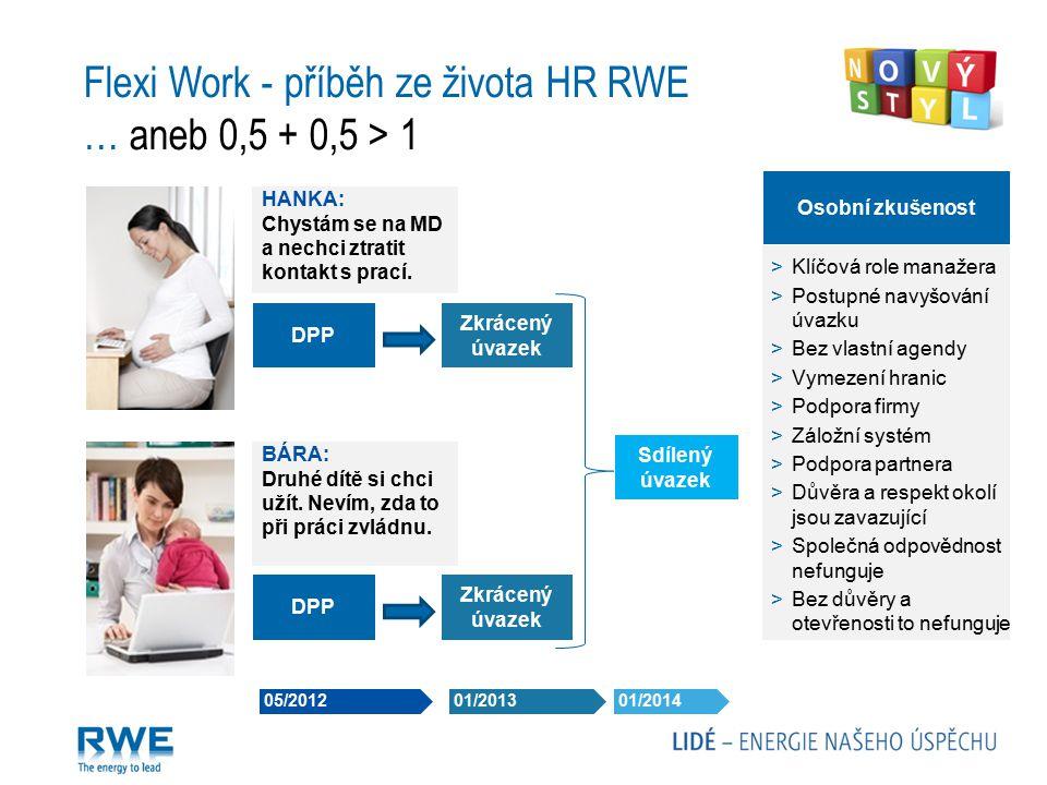 05/2012 01/2013 01/2014 Flexi Work - příběh ze života HR RWE … aneb 0,5 + 0,5 > 1 HANKA: Chystám se na MD a nechci ztratit kontakt s prací. BÁRA: Druh