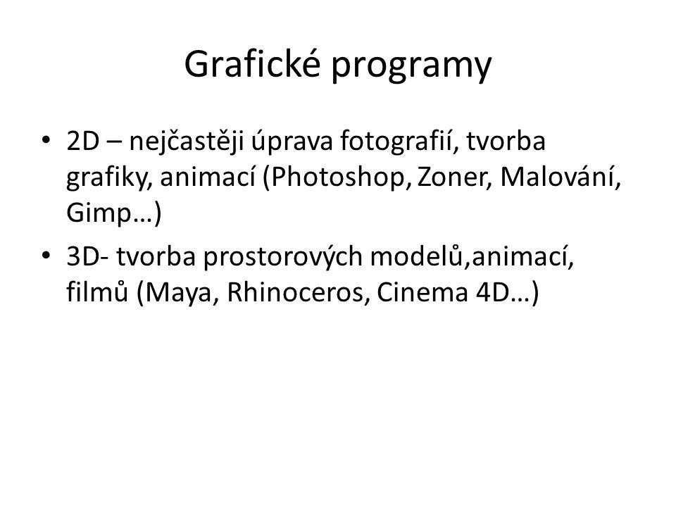 Grafické programy 2D – nejčastěji úprava fotografií, tvorba grafiky, animací (Photoshop, Zoner, Malování, Gimp…) 3D- tvorba prostorových modelů,animací, filmů (Maya, Rhinoceros, Cinema 4D…)