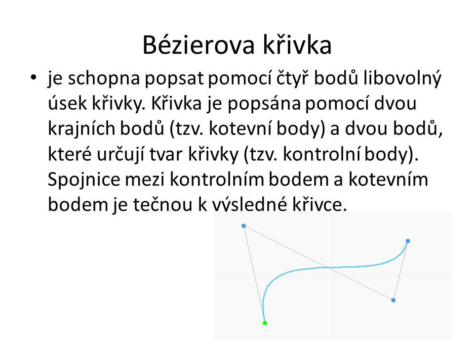 Bézierova křivka je schopna popsat pomocí čtyř bodů libovolný úsek křivky. Křivka je popsána pomocí dvou krajních bodů (tzv. kotevní body) a dvou bodů