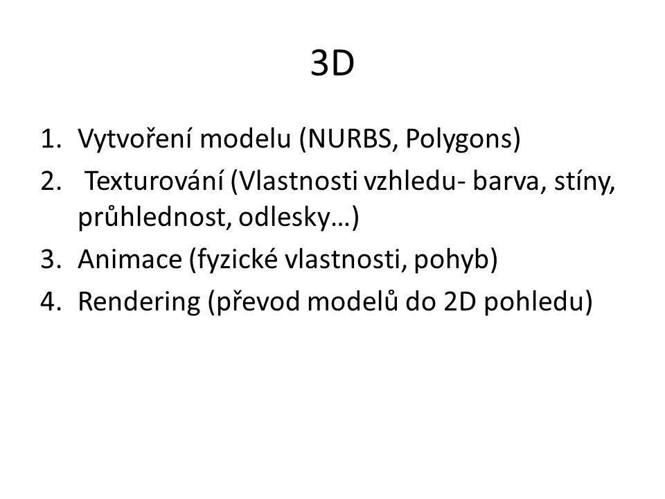 3D 1.Vytvoření modelu (NURBS, Polygons) 2. Texturování (Vlastnosti vzhledu- barva, stíny, průhlednost, odlesky…) 3.Animace (fyzické vlastnosti, pohyb)