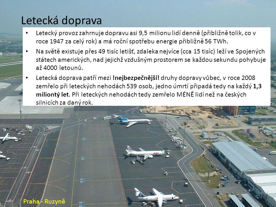 Letecká doprava Letecký provoz zahrnuje dopravu asi 9,5 milionu lidí denně (přibližně tolik, co v roce 1947 za celý rok) a má roční spotřebu energie přibližně 56 TWh.