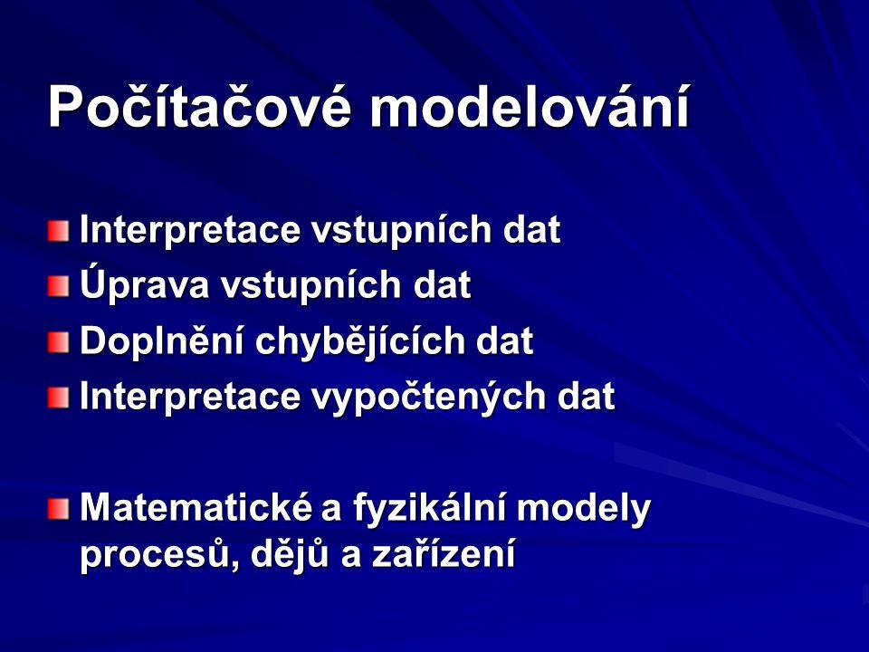 Metody modelování Analytické modely Statistické modely Modely 2D (křivky - funkční závislosti) Modely 3D (plochy - funkční závislosti) Modely xD (funkční závislosti) Počítačové metody výpočtu