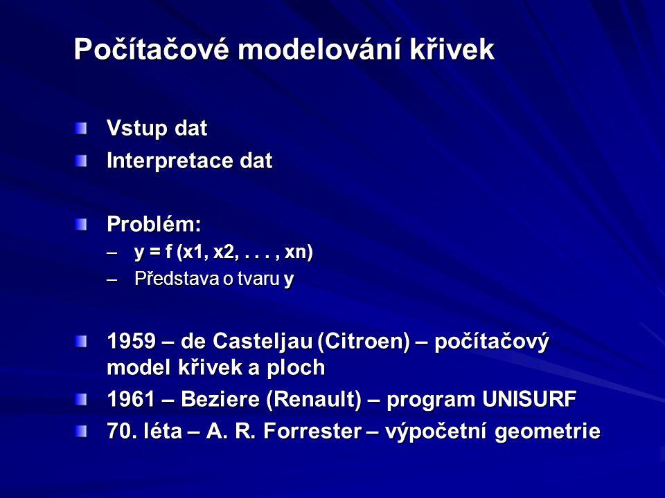 Počítačové modelování křivek Vstup dat Interpretace dat Problém: –y = f (x1, x2,..., xn) –Představa o tvaru y 1959 – de Casteljau (Citroen) – počítačový model křivek a ploch 1961 – Beziere (Renault) – program UNISURF 70.