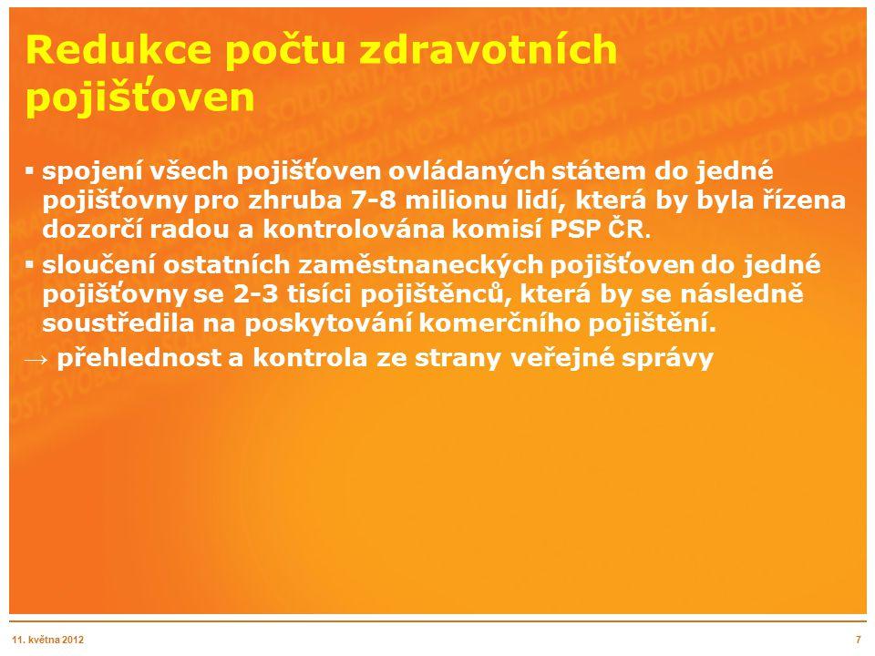 Redukce počtu zdravotních pojišťoven  spojení všech pojišťoven ovládaných státem do jedné pojišťovny pro zhruba 7-8 milionu lidí, která by byla řízena dozorčí radou a kontrolována komisí PS P ČR.