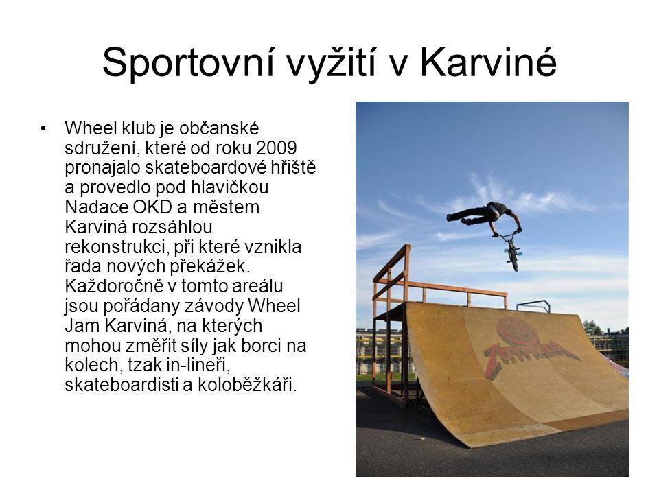 Sportovní vyžití v Karviné Wheel klub je občanské sdružení, které od roku 2009 pronajalo skateboardové hřiště a provedlo pod hlavičkou Nadace OKD a městem Karviná rozsáhlou rekonstrukci, při které vznikla řada nových překážek.