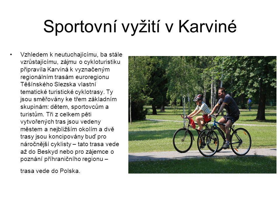 Sportovní vyžití v Karviné Vzhledem k neutuchajícímu, ba stále vzrůstajícímu, zájmu o cykloturistiku připravila Karviná k vyznačeným regionálním trasám euroregionu Těšínského Slezska vlastní tematické turistické cyklotrasy.